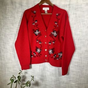 Vintage Floral Hand Embroidered Wool Sweater